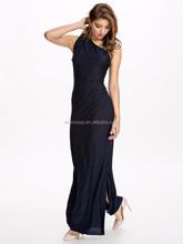 Fashion Dress 2015 Fantastic Blue Sleeveless One Shoulder Dress Round Neck Slim Party & Evening Dress