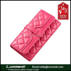 Hot sale sheepskin leather ladies purse,lingge pattern lady genuine leather wallet