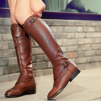 JUSITY 2015 New style genuine leather woman horse riding boots