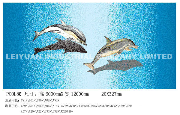 4mm 100x41x51cm bleu piscine en mosaïque