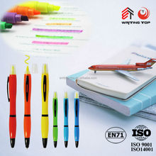 Plastic touch ball pen and high lighter with custom logo