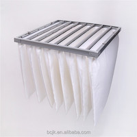 High temperature synthetic medium effficiency fiberglass bag filter