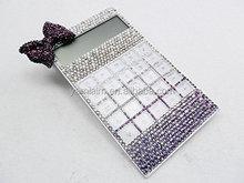 Purple Bowknot White Bling Diamond Crystal Solar Calculator Gift Fashion Office