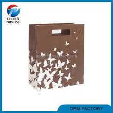 Custom handmade shopping die cut brown color paper bag