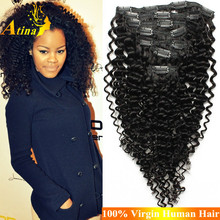 """Cheap 100% Human Hair Mongolian Afro Kinky Curly Clip In Hair Extensions 8""""-30"""" 120g/set Clip in Remy Hair Extensions 7 Pieces"""