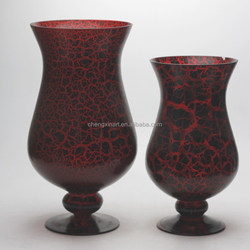crackle red black color glass hurricane