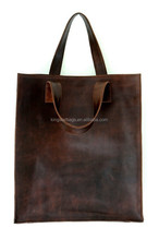 Simple real leather shopping tote bag