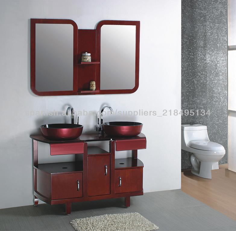 mueble de baño de cristal templado, mueble de baño de madera sólida