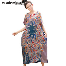 MOQ Low European Design Indian Pattern Cap Sleeve Printed Dress Fashion Dubai Dress