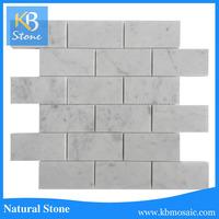 Polished carrara white marble mosaic brick