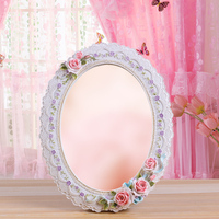 2015 new big size lace edge princess bueaty girl's syrian mirror theatrical travel hanging mirror portable makeup