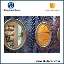 fatto a mano mosaico di vetro rotondo cornice dello specchio in legno per le vendite