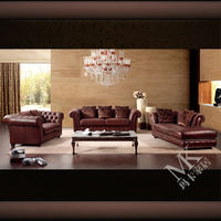 Popular italian brown genuine leather chesterfield sofa for sale HD220 in guangdong