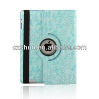Blue Embossed Flower Luxury Case & Multi Angle Rotating Stand for Apple iPad Air
