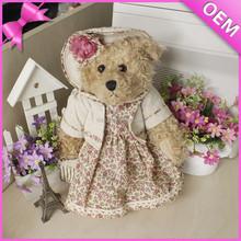 new toys 2015 plush fancy toy teddy bear wearing dress for girls, toys for children