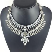 New luxury fashion rhinestone Europe chunky lucky crystal tassel bib statement necklace for women