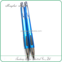 Click mechanism blue color metal cheap pen