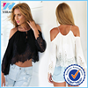 Yihao Fashion Women Sexy Off Shoulder Lace Chiffon Shirt Vintage Boho Clothing Tassels Crop Top Blouse