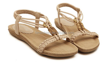Students fashion Comfortable hemp rope sandals flat sandals name brand shoes