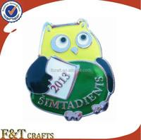 bird shaped metal soft enamel badge with Epoxy dome