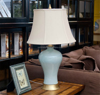 SAA CUL America style many color for your choosing brass base high quality porcelain table lamp with waisted round shade
