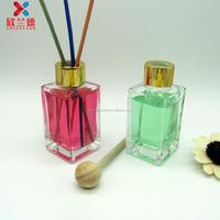 80ml cuboid rectangle shape reed diffuser glass perfume bottle air freshener bottle with screw cap