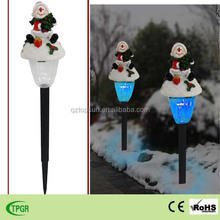 Christmas ornaments polyresin snowman with plastic solar stake light