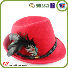 High Quality Wool Cap Felt Available Fedora Feather Hats For Sale Cheap Made In China