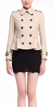 Ladies genuine Italy leather double breasted coat