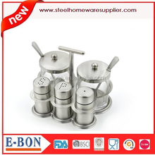Stainless Steel Salt & Pepper Shakers, Spice Shaker and Two Glass Condiment Bowl with Spoon Set