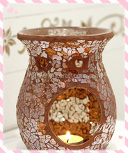 8.5*10.5cm brown perfume essential for room study/crackle mosaic glass oil burner