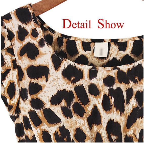 Летние платье моды женщин сексуальная круглый воротник леопарда печати случайные мини-платье партии