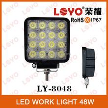 Polular 48w led work light, offroad 4x4 car led work light 48w square , waterproof IP67 for 4wd atv suv led worklight for trucks