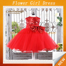 Children red sequin party flower dresses for girl of 5 years old CDT-060