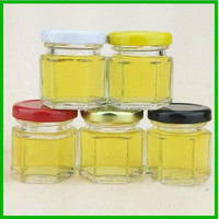 1oz hexagon round glass jars for honey with metal lid