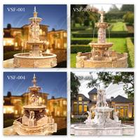 New design garden decoration 3 tier marble water fountains