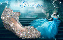 Ladies Cinderella Summer strap buckle Wedged Ventilate cutout Crystal Shoes wedges Bird's Nest Sandals