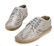 Fashion casual shoes shiny lace up men espadrille shoes