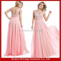 OC-2445 Beautiful sheer back cap sleeve women formal night gown evening prom dress party dress full length