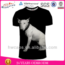 Dog print black t shirt made in china factory cheap men's t shirt