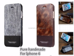 Promotion luxury snake skin pattern real leather phone case for iphone 6