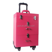 New Fashion Professional High Quality PU Leather Trolley Cosmetic Case Big Size 35*23*49 cm