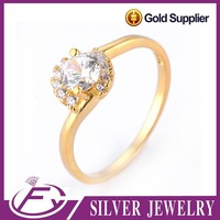 Modern design shining polish aaa cz stone pure 24k gold plated jewellery