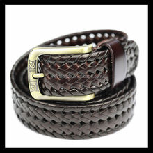 High quality weave men's braided generated leather belt with best price