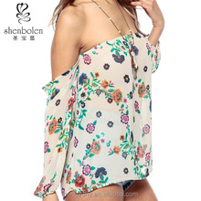 M40686 flor colorida mpresso off ombro elasticized decote blusa com as costas abertas da china fabricante de roupas OEM