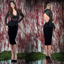 2015 New Arrival See Through Bodice Long Sleeve Deep V-neck Sexy Sheath Knee Length Back Keyhole Black Velvet Evening Dreses