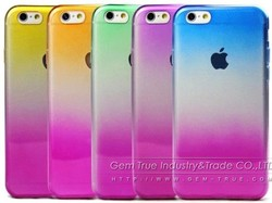 TPU Phone Case Transparent Gradient Color Ultra Thin Soft Case For iPhone 6 4.7