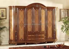 classic wooden bedroom sets with bed,nightstands,dressing table, five door wardrobe, model no 8015