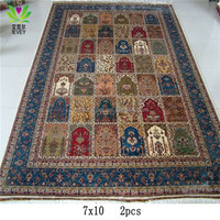 7x10ft Traditional Pure Silk Persian Bokhara Carpet /rugs