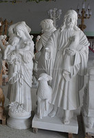 Marble stone mary and baby jesus statue